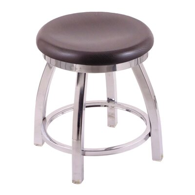 Cragin Vanity Stool Seat Finish: Dark Cherry Oak, Base Finish: Chrome