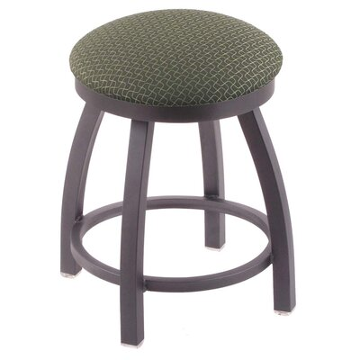 "Cragin 18"" Swivel Accent Stool with Cushion Seat Color: Axis Grove, Frame Color: Pewter"