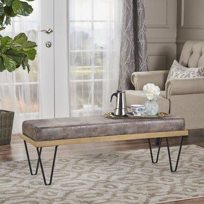 Reavis Upholstered Bench Upholstery: Gray Brown Microfiber