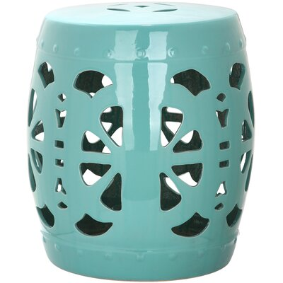 Moree Stencil Blossom Garden Stool Finish: Light Blue