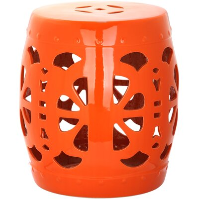 Moree Stencil Blossom Garden Stool Finish: Orange