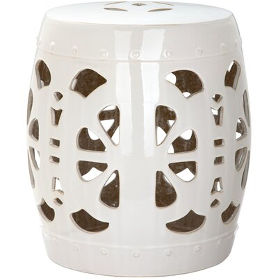 Moree Stencil Blossom Garden Stool Finish: Cream