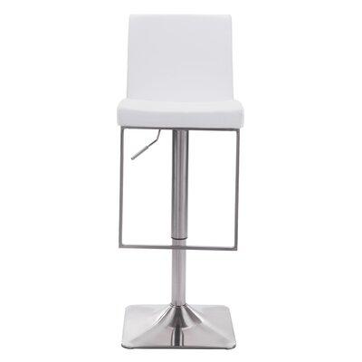 Bissett Adjustable Height Swivel Bar Stool Upholstery: White