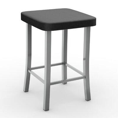 "Caudillo 25.5"" Bar Stool Color: Matte Light Gray, Upholstery: Beige Polyurethane"