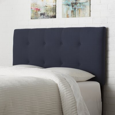 Tufted Upholstered Panel Headboard Size: Queen, Upholstery: Navy