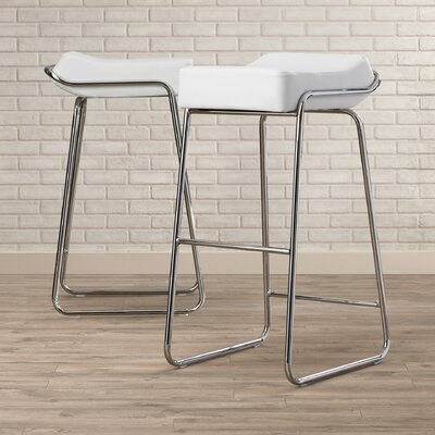 "Ramiro 32"" Bar Stool Cushion color: White"
