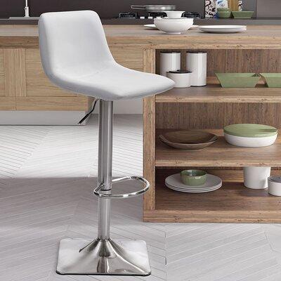 Boomer Adjustable Height Swivel Bar Stool Upholstery: White