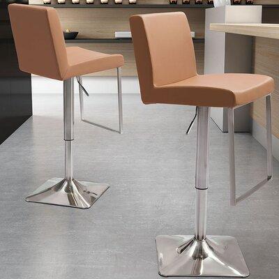 Bissett Adjustable Height Swivel Bar Stool Upholstery: Taupe