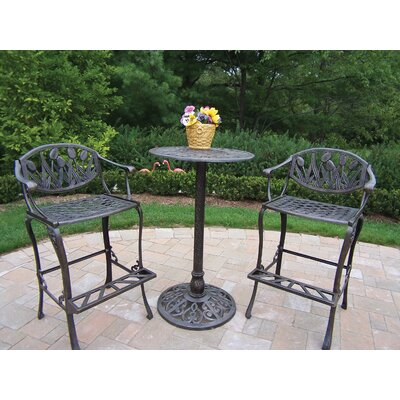 Farrior 3 Piece Bar Height Dining Set Finish: Antique Bronze