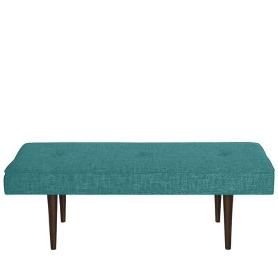 Foweler Tufted Woven Linen Upholstered Bench Upholstery Color: Zuma Peacock