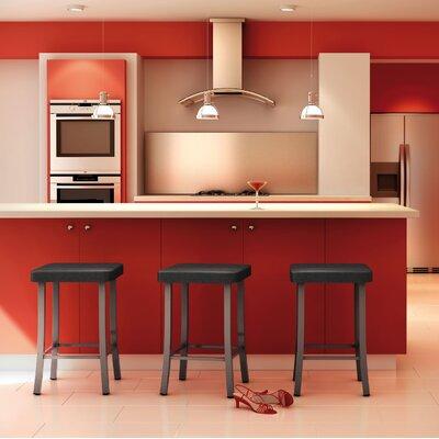 "Caudillo 30"" Bar Stool Color: Textured Dark Brown, Upholstery: Beige Polyurethane"