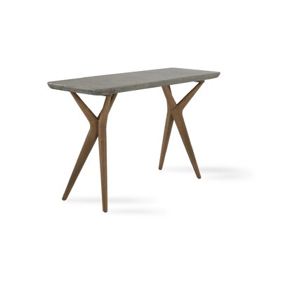 Lipscomb Console Table Table Top Color: Dark gray, Table Base Color: Oak