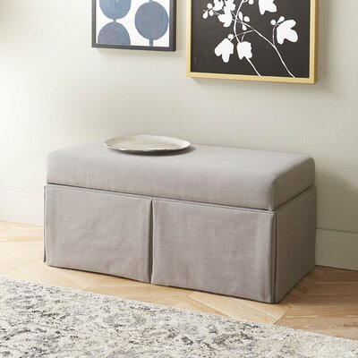 Arbor Glen Linen Wood Skirted Storage Bench Color: Gray