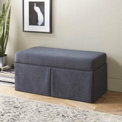 Arbor Glen Linen Wood Skirted Storage Bench Color: Navy