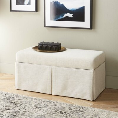 Arbor Glen Linen Wood Skirted Storage Bench Color: Talc