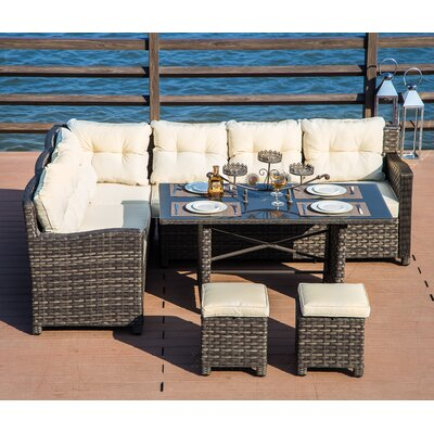 Vanhoy 5 Piece Rattan Sectional Set with Cushions