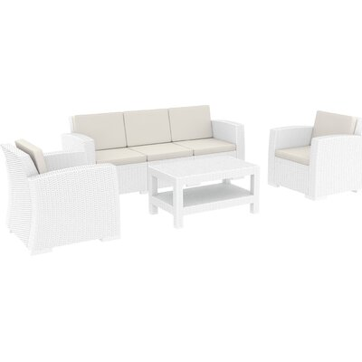 Vedder 4 Piece Sofa Set with Cushions Color: White