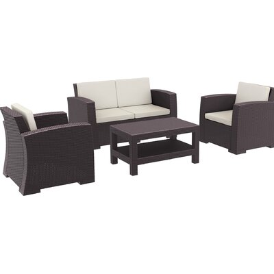 Vedder 4 Piece Sofa Set with Cushions Color: Brown