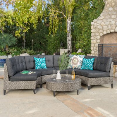 Stoneman 5 Piece Rattan Sectional Set with Cushions