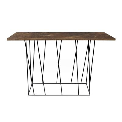 Sligh Console Table Table Base Color: Black Lacquered Steel, Table Top Color: Rusty Look