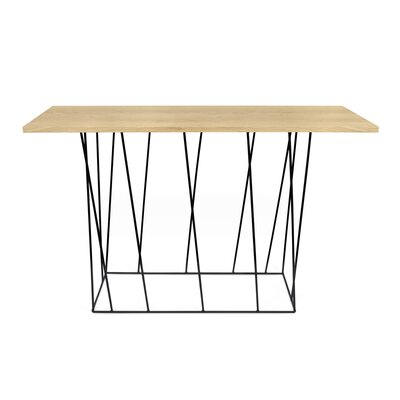 Sligh Console Table Table Top Color: Wild Oak, Table Base Color: Black Lacquered Steel