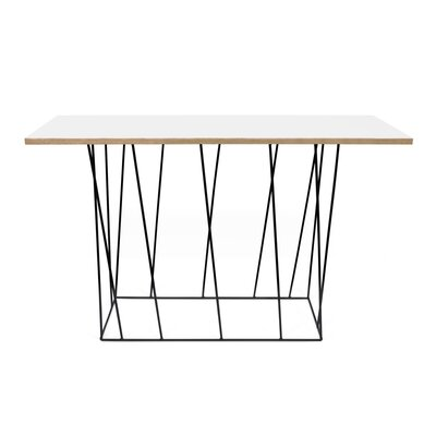 Sligh Console Table Table Top Color: Pure White, Table Base Color: Black Lacquered Steel