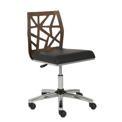 Malvern Office Chair Color (Upholstery/Frame): Walnut / Black, Arms: No