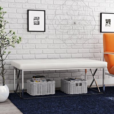 Solorio Upholstered Bench Upholstery Color: White