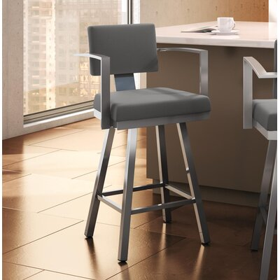 "Perrotta 26.75"" Swivel Bar Stool Color: Glossy Gray, Upholstery: Light Cold Grey"