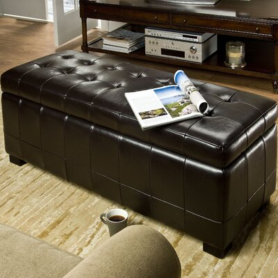 Sinope Leather Storage Bench Color: Black