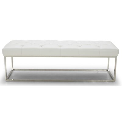 Secor Lux Faux Leather Bench Upholstery: White