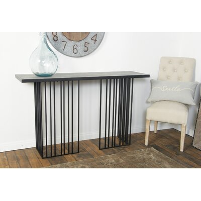 Chenier Modern Vertical Lines Rectangular Console Table