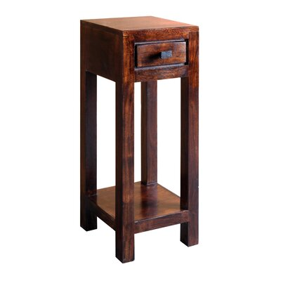 "Feeley Corner Telephone Table Wood Color: Dark Walnut, Size: 29.5"" H x 11.5"" W x 11.5"" D"