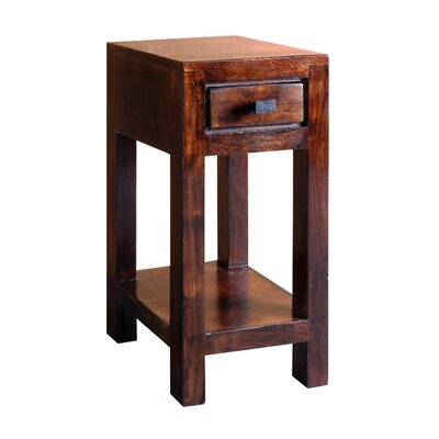 "Feeley Corner Telephone Table Wood Color: Dark Walnut, Size: 23.5"" H x 11.5"" W x 11.5"" D"