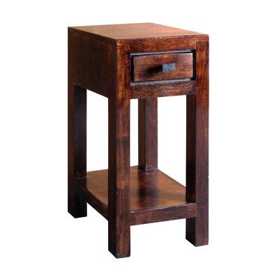 "Feeley Corner Telephone Table Wood Color: Dark Walnut, Size: 23.5"" H x 11.5"" W x 11.5"" D"
