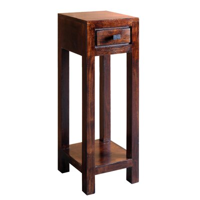 "Feeley Corner Telephone Table Wood Color: Dark Walnut, Size: 35.43"" H x 11.5"" W x 11.5"" D"