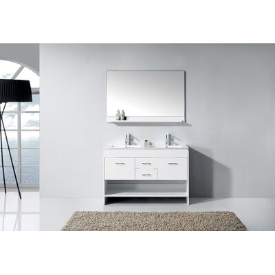 "Frausto 47"" Double Bathroom Vanity Set with Mirror Base Finish: White"