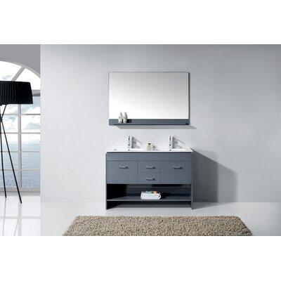 "Frausto 47"" Double Bathroom Vanity Set with Mirror Base Finish: Gray"