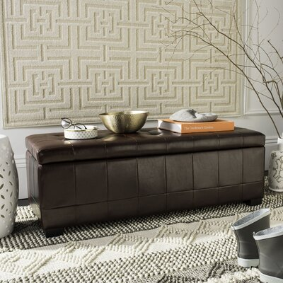 Sinope Leather Storage Bench Color: Cordovan