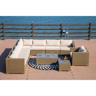 Kensal 10 Piece Rattan Sectional Set with Cushions