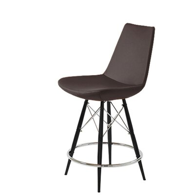 "Shinkle Dowel 29"" Bar Stool Leg Color: Black, Seat Color: Brown Leatherette"