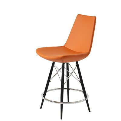 "Shinkle Dowel 29"" Bar Stool Leg Color: Black, Seat Color: Pastel Orange Leatherette"