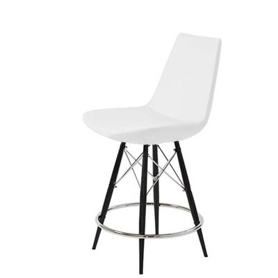"Shinkle Dowel 29"" Bar Stool Leg Color: Black, Seat Color: White Leatherette"