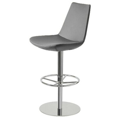 Shinkle Piston Adjustable Height Swivel Bar Stool Leg Color: Chrome, Seat Color: Gray Leatherette