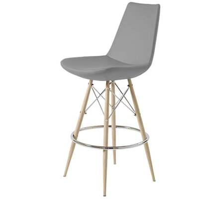 "Shinkle Dowel 29"" Bar Stool Leg Color: Black, Seat Color: Gray Leatherette"