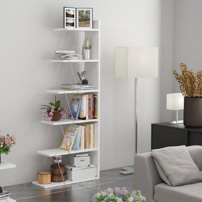 Colette Ladder Bookcase Color: White/Pink