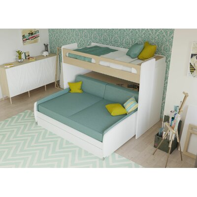 Gautreau Twin Bunk Bed over Full XL Sofa Bed, Table and Trundle Bed Frame Color: Light Wood/White