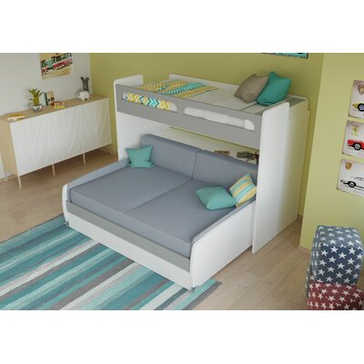 Gautreau Twin Bunk Bed over Full XL Sofa Bed, Table and Trundle Bed Frame Color: Matte Silver/White