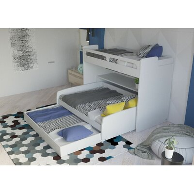 Gautreau Twin Bunk Bed over Full XL Sofa Bed, Table and Trundle Bed Frame Color: White