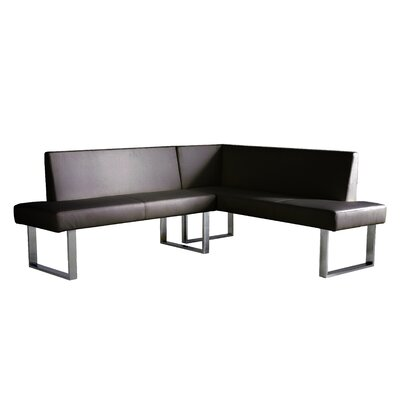 Robb Faux Leather Corner Bench Upholstery: Black